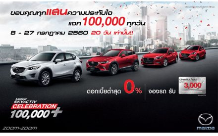 Mazda celebrates 100,000 units SKYACTIV sales Thank you campaign chance to win daily Bht.100,000